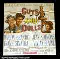 "Movie Posters:Musical, Guys and Dolls (MGM, 1955). Six Sheet (81""X81"") Marlon Brando and Frank Sinatra are gamblers with songs to sing in this glo..."