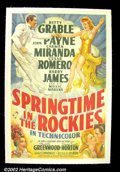 "Movie Posters:Western, Springtime in the Rockies (20th Century Fox, 1942) One Sheet (27"" X41""). Positively one of the best musicals of the 1940s w..."