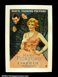 "Coquette (United Artists 1929) One Sheet (27""X41"") Mary Pickford won an Oscar for her role in this her first &..."