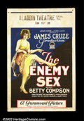 """Movie Posters:Comedy, The Enemy Sex, (Paramount, 1924).Window Card (14""""X22"""") Beautifulstone litho card for this film about chorus girl """"Dodo"""" Bax..."""
