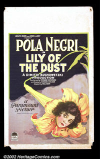 "Lily of the Dust (Paramount, 1924). Window Card (14""X22) Beautiful stone litho artwork graces this early Pola Negri..."