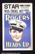 "Movie Posters:Comedy, Heads Up (Paramount, 1930). Window Card (14""X22"") Beautifulportrait of star Charles ""Buddy"" Rogers in an early ""talkie"" for..."