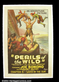 """Perils of the Wild (Universal 1925) One Sheet ( 27"""" X 41"""").Serial legend Joe Bonomo is depicted as he came to..."""