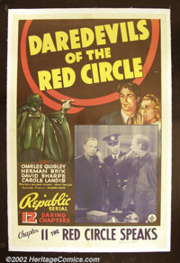 Daredevils of the Red Circle (Republic 1939) One sheet. Herman Brix and stuntman Dave Sharpe are featured in this serial...