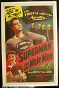 "Movie Posters:Action, Superman and the Mole Men (Lippert 1951) One Sheet (27"" X 41"") George Reeves played the Man of Steel from 1953 to 1957 on te..."
