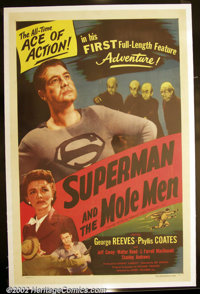 """Superman and the Mole Men (Lippert 1951) One Sheet (27"""" X 41"""") George Reeves played the Man of Steel from 1953..."""