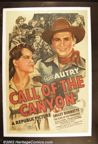 """Call of the Canyon (Republic, 1942). One Sheet (27"""" X 41"""") Great portrait art of cowboy star Gene Autry in one..."""
