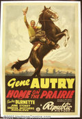 "Movie Posters:Western, Home on the Prairie (Republic, 1939). One Sheet (27""X41"") This onesheet is considered one of Gene Autry's best as it featur..."