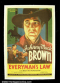 "Movie Posters:Western, Everyman's Law (Republic, 1936). One Sheet (27""X41"") Johnny Mack Brown was one of the classic cowboys of the B western! Thi..."