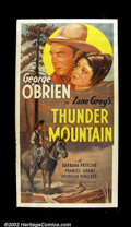 "Movie Posters:Western, Thunder Mountain (Fox, 1935). Three Sheet (41""X81"") Beautiful stone litho from this George O'Brien western taken from a Zane..."