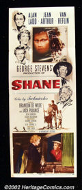 "Movie Posters:Western, Shane (Paramount, 1953). Insert (14""X36"") Alan Ladd single-handedlychanged the image of what the western hero should be in ..."