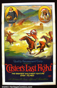 """Custer's Last Fight (Quality Amusement, R-1925).One Sheet (27""""X41"""") Beautiful stone litho for a re-issue of a..."""
