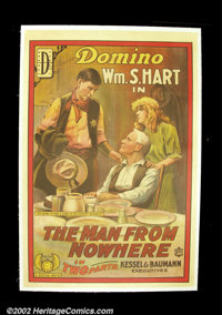 "The Man From Nowhere, (Mutual, 1915). One Sheet(27""X41"") William S. Hart was one of the screens earliest cowbo..."