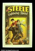 "Movie Posters:Western, Lightning Speed (FBO, 1928).One Sheet (27""X41"") Beautiful stonelitho poster for an early Bob Steele programmer. Vibrant col..."