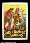 "Movie Posters:Western, Single Handed Sanders (Monogram, 1932). One Sheet (27""X41""). Stonelitho poster done for a Tom Tyler programmer done during..."