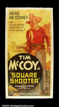 """Square Shooter (Columbia 1935) Three Sheet (41"""" X 81"""") This is a fabulous full length image of the rough ridin..."""