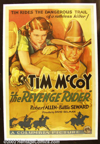 "The Revenge Rider (Columbia 1935) One Sheet ( 27"" X 41""). Tim McCoy is shown on this stunning one sheet alongs..."