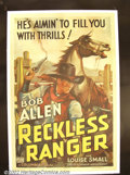 "Movie Posters:Western, The Reckless Ranger (Columbia 1937) One Sheet (27"" X 41"").BobAllen. Fine+ on Linen. ..."
