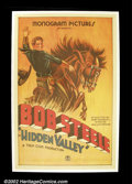 "Movie Posters:Western, The Hidden Valley (Monogram, 1932). One Sheet (27""X41"").Bob Steele.Fine on Linen. ..."