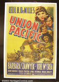 "Movie Posters:Western, Union Pacific (Paramount, 1939). One Sheet (27""X41"") Cecil B. DeMille directed this sprawling western saga about the buildin..."