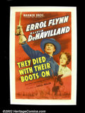 """Movie Posters:Western, They Died With Their Boots On (Warners Brothers 1945) One Sheet (27""""X41"""") Errol Flynn stars in this dramatization of George ..."""
