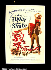 "San Antonio ( Warner Brothers 1945) One Sheet (27""X41"") Dance hall girl Alexis Smith who works for the town vi..."