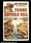 "Movie Posters:Western, Young Buffalo Bill (Republic 1940) One Sheet (27""X41"") Action abounds on this striking one sheet from Roy Rogers' early care..."