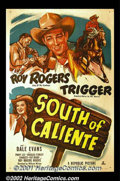 "Movie Posters:Western, South of Caliente (Republic, 1951). One Sheet (27""X41"") This wasone of Roy Rogers' last features at Republic before he took..."