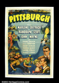 "Movie Posters:Western, Pittsburgh (Universal, 1942). One Sheet (27""X41"") John Wayne,Marlene Dietrich, and Randolph Scott were a studio's formula f..."