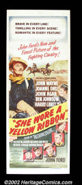 "Movie Posters:Western, She Wore a Yellow Ribbon (RKO, 1949). Insert (14""X36"") John Wayneas a rough and tough cavalry officer, prepares for one la..."