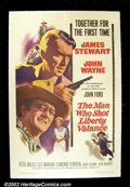 "Movie Posters:Western, The Man Who Shot Liberty Valence, (Paramount, 1962). One Sheet(27""X41"") John Ford cast screen legends John Wayne and James ..."