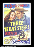 "Movie Posters:Western, Three Texas Steers (Republic 1939) One Sheet (27""X41"") This was oneof the ""Three Mesquiteers"" western series which had John..."