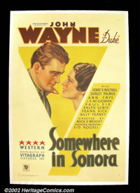 "Somewhere in Sonora (Warner Brothers, 1933). One Sheet (27""X41"") After backing up Tim McCoy and Buck Jones in..."