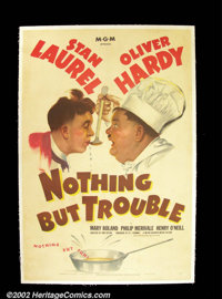 "Nothing But Trouble (MGM 1944) One Sheet (27""X41"") The boys were at it again, as Laurel and Hardy take jobs as..."