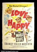 "Movie Posters:Comedy, Love Happy (United Artists 1950) One Sheet (27""X41"") Truly theirlast ensemble effort as a team, Harpo, Chico, and Groucho M..."