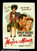 "Movie Posters:Comedy, The Major and The Minor (Paramount 1942) One Sheet (27"" X 41"") Anunforgettable comedy and the first directing effort by Bi..."