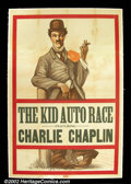 "Movie Posters:Comedy, The Kid Auto Race (Independent, c. 1922) One sheet (27""X41"") Manyof Charlie Chaplin's early shorts were being re-issued in..."