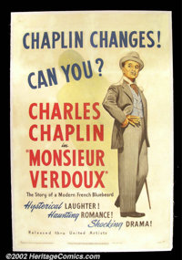 "Monsieur Verdoux (United Artists, 1947) One Sheet (27""X41"") Charlie Chaplin directed and starred in this comed..."