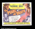"Movie Posters:Comedy, Pearl of Death (Universal 1944) Half Sheet (22X 28""). BasilRathbone and Nigel Bruce will forever be remembered as the quint..."
