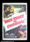 "Movie Posters:Miscellaneous, Dick Tracy vs. Cueball (RKO 1946) One Sheet (27"" X 41"") MorganConway stars as the square-jawed detective, Dick Tracy, made..."