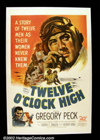 "Twelve O'Clock High (20th Century Fox, 1949). One Sheet (27""X41"") This classic WWII drama about US flyers in E..."
