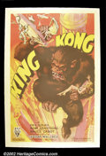 "Movie Posters:Horror, King Kong (RKO 1933) One Sheet (27"" X 41"") Style A. This incredible poster features Kong as he is best remembered; on top of..."