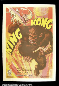 "King Kong (RKO 1933) One Sheet (27"" X 41"") Style A. This incredible poster features Kong as he is best remembe..."