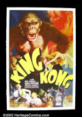 "Movie Posters:Horror, King Kong (RKO 1933) One Sheet (27"" X 41"") Style B. For years, ""King Kong"" has been the pinnacle of the poster hobby, with t..."