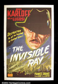 "Movie Posters:Horror, Invisible Ray (Realart R-1948) One Sheet (27"" X 41"") This is a nice re-issue sheet from the 1936 Universal horror classic. F..."
