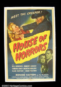 """Movie Posters:Horror, House of Horrors (Universal, 1946). One Sheet (27""""X41""""). Rondo Hatton as The Creeper, claims another victim! Hatton portray..."""