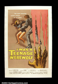 "I Was a Teenage Werewolf (AIP 1957) One Sheet (27"" X 41""). Michael Landon made his debut as a teenage werewolf..."