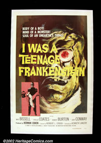 "I Was a Teenage Frankenstein (AIP, 1957). One Sheet (27"" X 41""). One of producer Herman Cohen's classic drive-..."