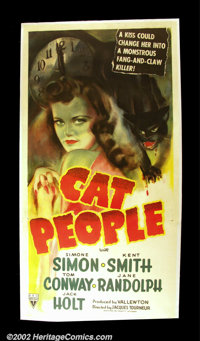 """Cat People (RKO 1942) Three Sheet (41""""X81"""") Now considered a classic of """"suggested horror""""; Val Lewt..."""