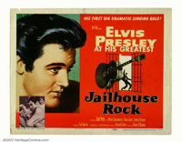 "Jailhouse Rock (MGM, 1957). Title Lobby Card (11"" X 14"") This outstanding portrait of a young Elvis Presley is..."